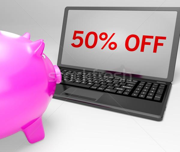 Stockfoto: Vijftig · procent · af · notebook · speciaal · laptop