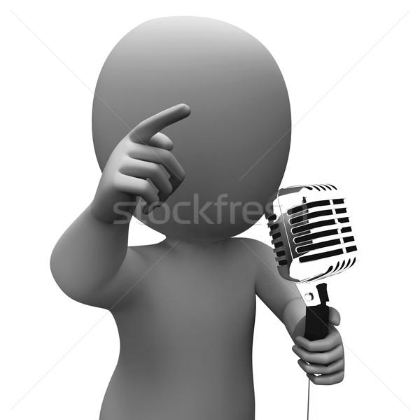 Cantante carácter música discurso micrófono concierto Foto stock © stuartmiles