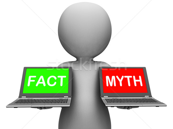 Fact Myth Laptops Show Facts Or Mythology Stock photo © stuartmiles