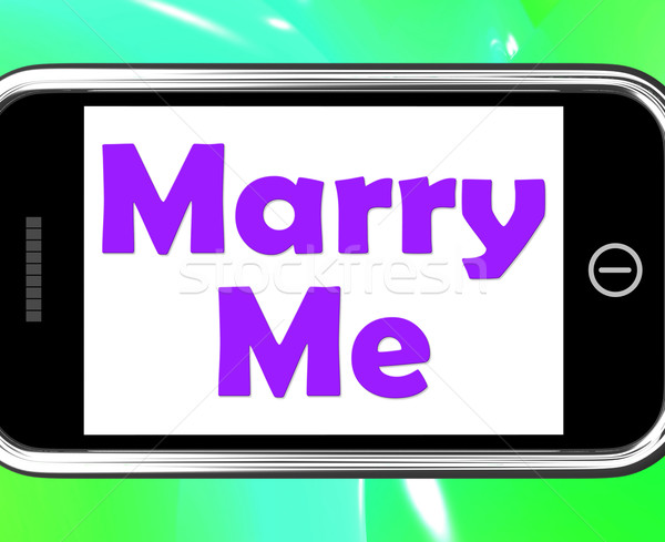 Marry Me On Phone Means Wedding Proposal Stock photo © stuartmiles