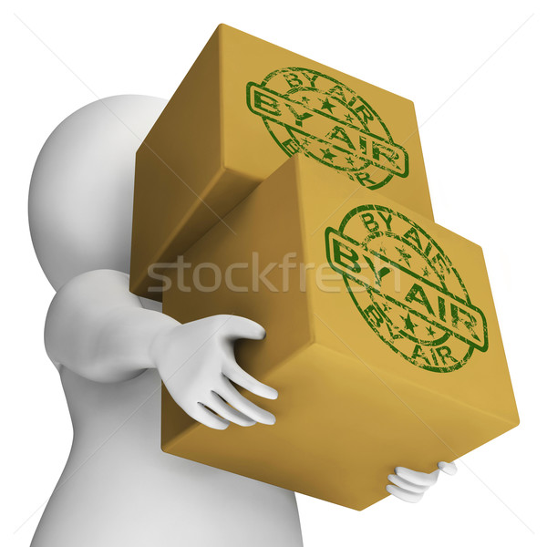 By Air Boxes Show Airmail Or Transporting Goods By Airplane Stock photo © stuartmiles