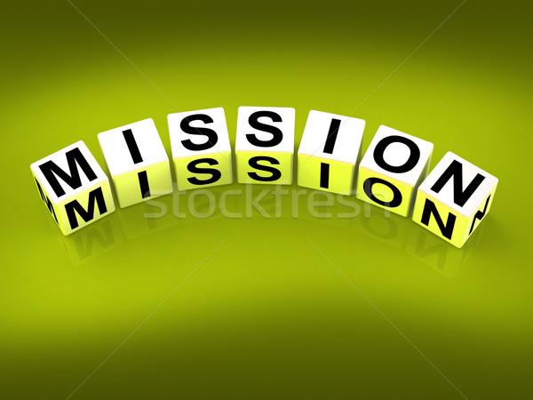 Misión bloques mostrar estrategias objetivos Foto stock © stuartmiles