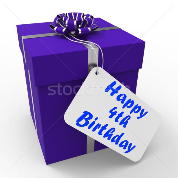 Szczęśliwy urodziny dar gratulacje cztery Zdjęcia stock © stuartmiles