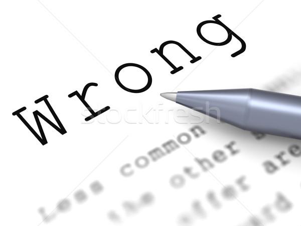 Wrong Word Means False Bad Or Improper Stock photo © stuartmiles