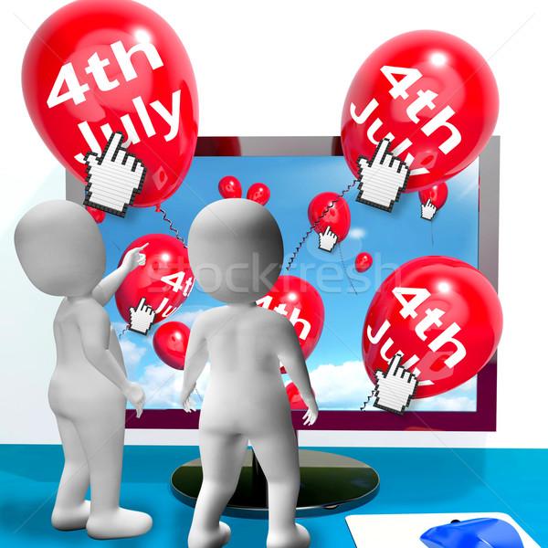 Rood vierde ballon geest internet tonen Stockfoto © stuartmiles