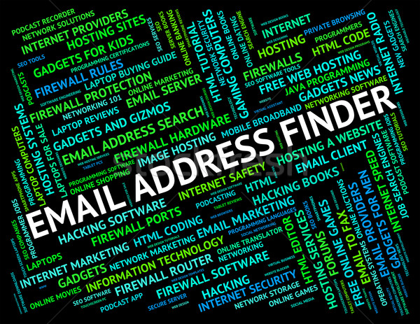 Email Address Finder Means Send Message And Addresses Stock photo © stuartmiles