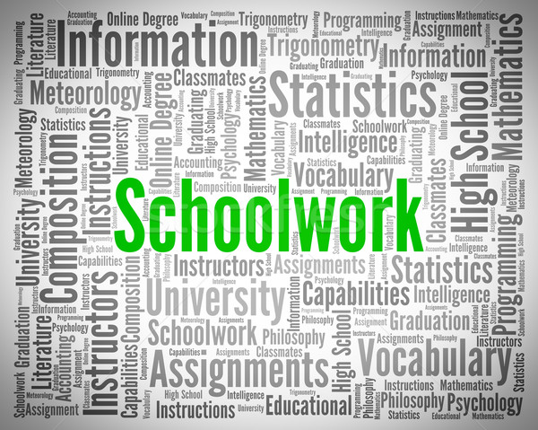 Schoolwork Word Indicates Undertaking Tasks And Exercise Stock photo © stuartmiles