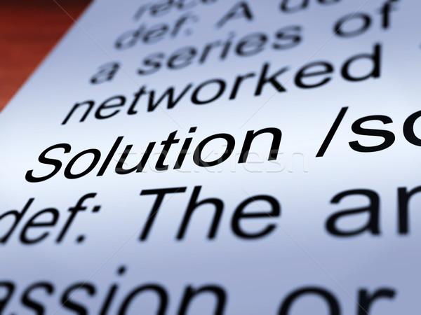 Stockfoto: Oplossing · definitie · tonen · succes · prestatie