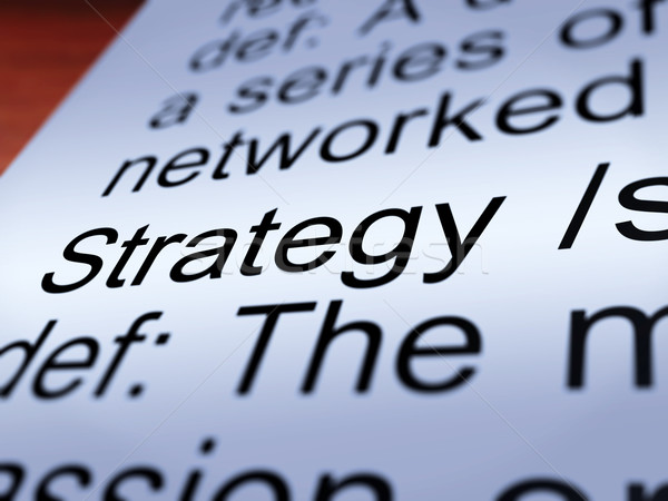 Stockfoto: Strategie · definitie · tonen · leiderschap · planning
