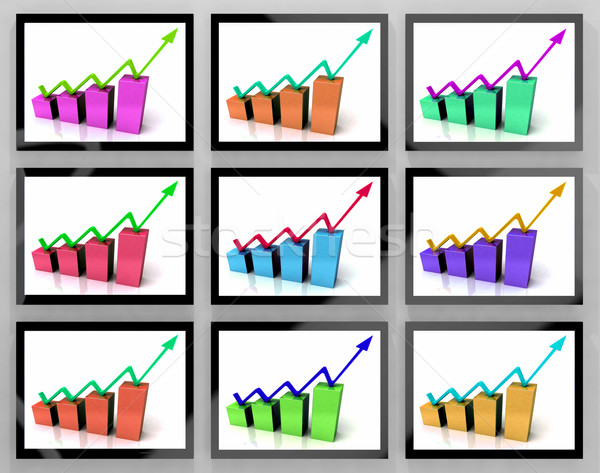 Arrows Going Up On Monitors Shows Increasing Rating And Sales Stock photo © stuartmiles