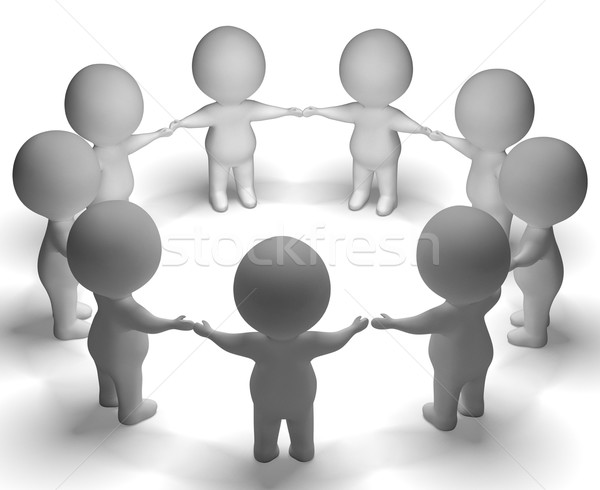 Gathering Of 3d Characters Shows Community Or Together Stock photo © stuartmiles