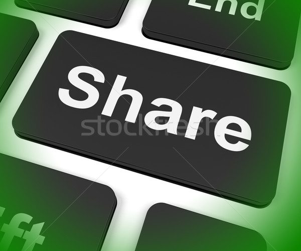 Share Key Shows Sharing Webpage Or Picture Online Stock photo © stuartmiles