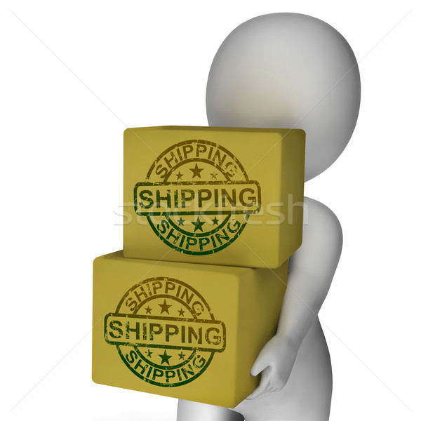 Shipping Boxes Show Freight Courier And Transportation Of Goods Stock photo © stuartmiles