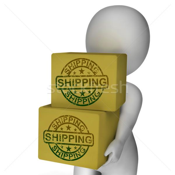 Versandkosten Boxen zeigen Kurier Transport Waren Stock foto © stuartmiles