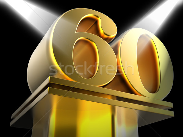 Golden Sixty On Pedestal Shows Sixtieth Entertainment Anniversar Stock photo © stuartmiles