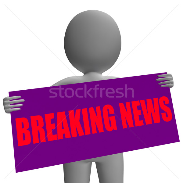 Breaking News Sign Character Means News Update Stock photo © stuartmiles