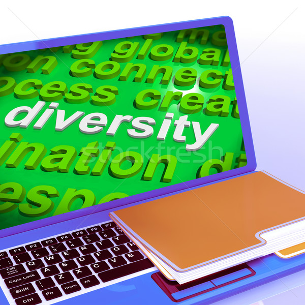 Diversity Word Cloud Laptop Shows Multicultural Diverse Culture Stock photo © stuartmiles