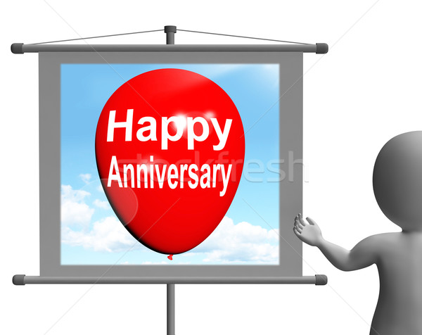 Happy Anniversary Sign Shows Cheerful Festivities and Parties Stock photo © stuartmiles