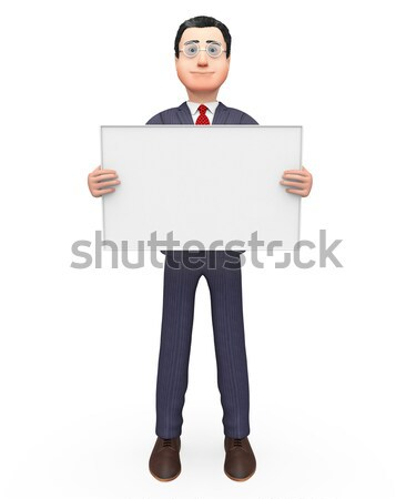 Businessman Holding Signboard Indicates Empty Space And Blank Stock photo © stuartmiles