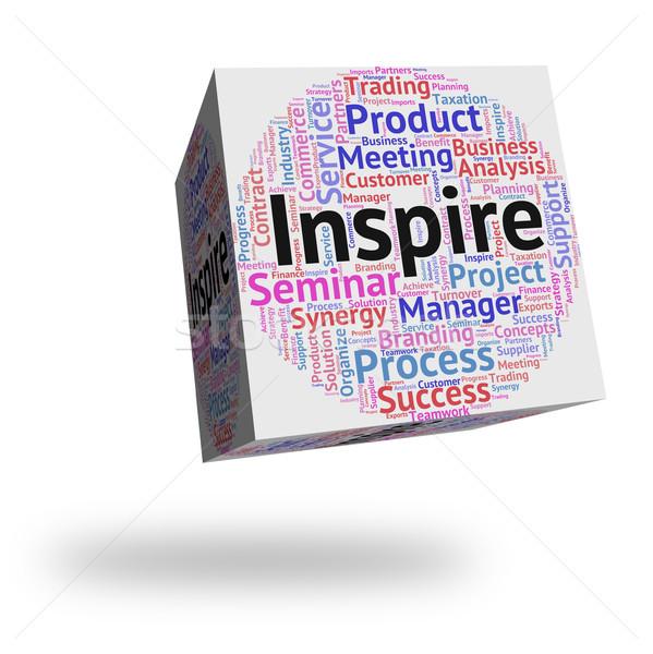 Inspireren woord tekst woorden verplaatsen motivatie Stockfoto © stuartmiles