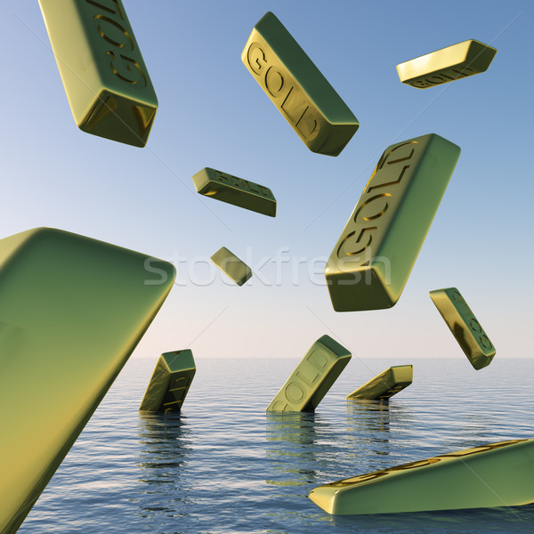 Gold Bars Falling Showing Depression Recession And Economic Down Stock photo © stuartmiles