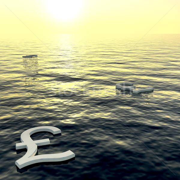 Pounds Floating To A Sunset Showing Money Wealth Or Earnings Stock photo © stuartmiles