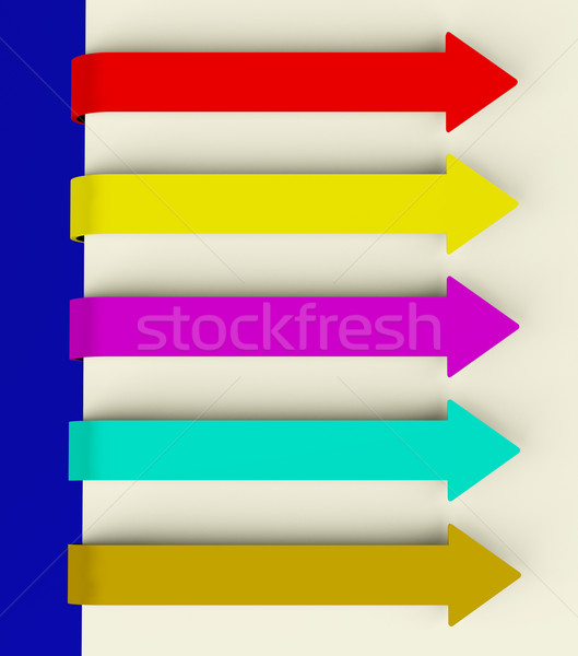 Five Multicolored Long Arrow Tabs Over Paper For Menu List Or No Stock photo © stuartmiles