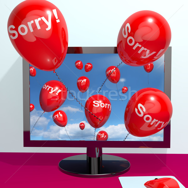 Sorry Balloons From Computer Showing Online Apology Regret Or Re Stock photo © stuartmiles