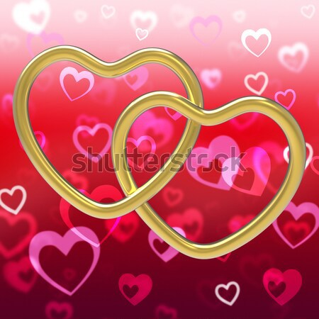 Red Hearts Background Showing Love Romance And Valentines Stock photo © stuartmiles