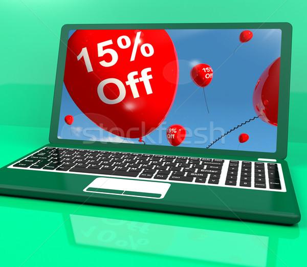 Stock fotó: Léggömbök · számítógép · mutat · vásár · árengedmény · tizenöt