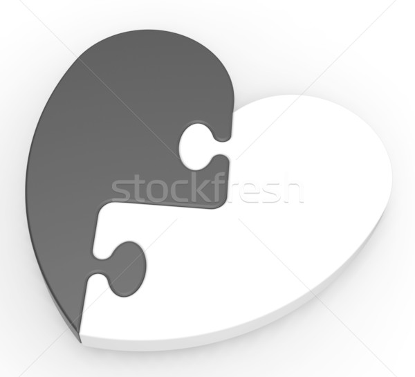 Two-Colored Heart Puzzle Showing Previous Engagement Stock photo © stuartmiles