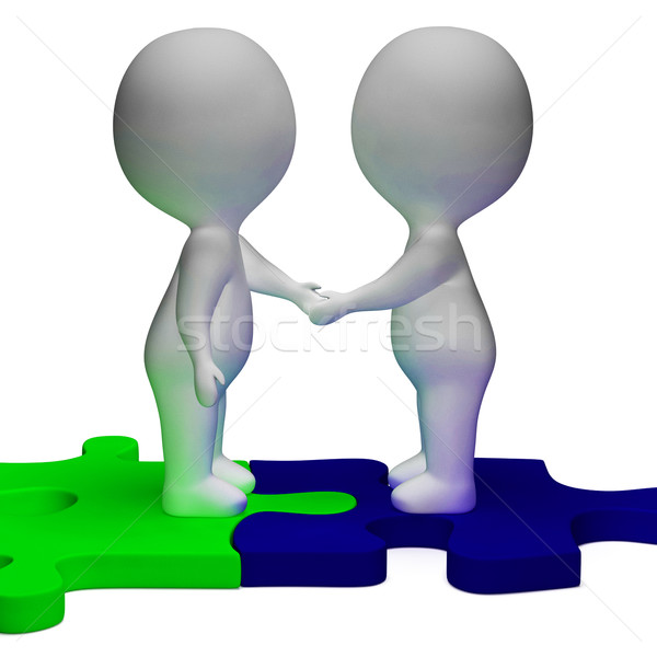 Shaking Hands 3d Characters Shows Partners And Solidarity Stock photo © stuartmiles