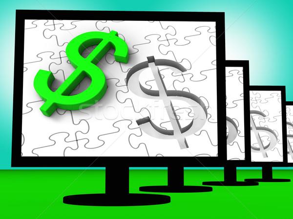 Dollar Symbol On Monitors Showing American Finances Stock photo © stuartmiles