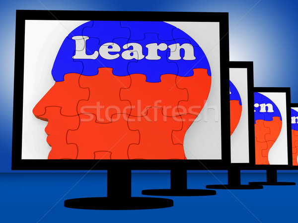 Learn On Brain On Monitors Showing Human Studying Stock photo © stuartmiles
