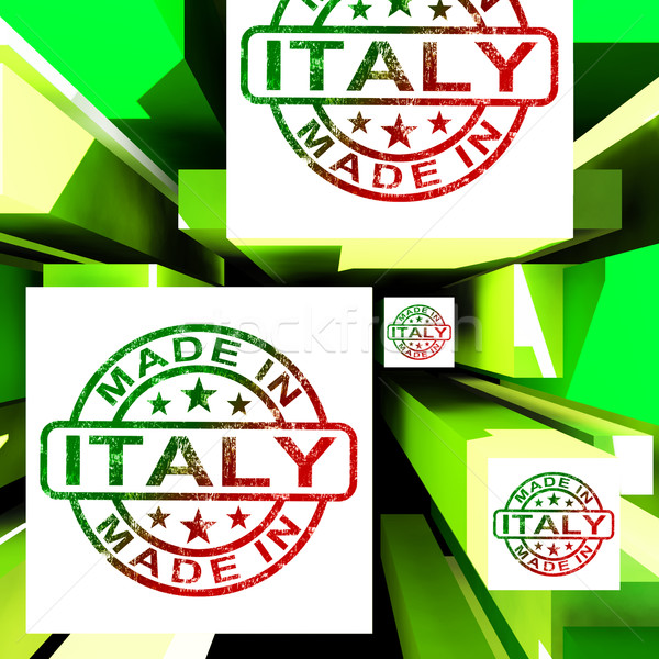 Made In Italy On Cubes Shows Italian Manufacture Stock photo © stuartmiles