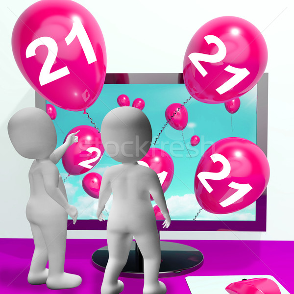 Number 21 Balloons from Monitor Show Online Invitation or Celebr Stock photo © stuartmiles