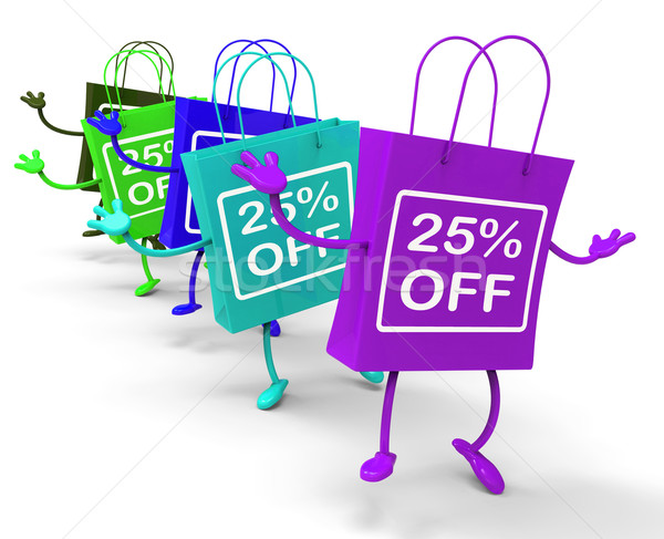 Twenty-five Percent Off On Colored Shopping Bags Show Bargains Stock photo © stuartmiles