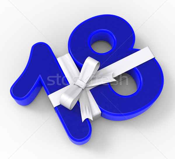 Number Eighteen With Ribbon Shows Teenager Birthday Party Or Cel Stock photo © stuartmiles