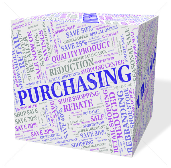 Purchasing Cube Means Client Purchase And Text Stock photo © stuartmiles