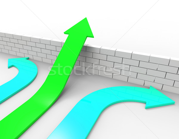 Success Arrow Means Jump Hurdle And Arrows Stock photo © stuartmiles