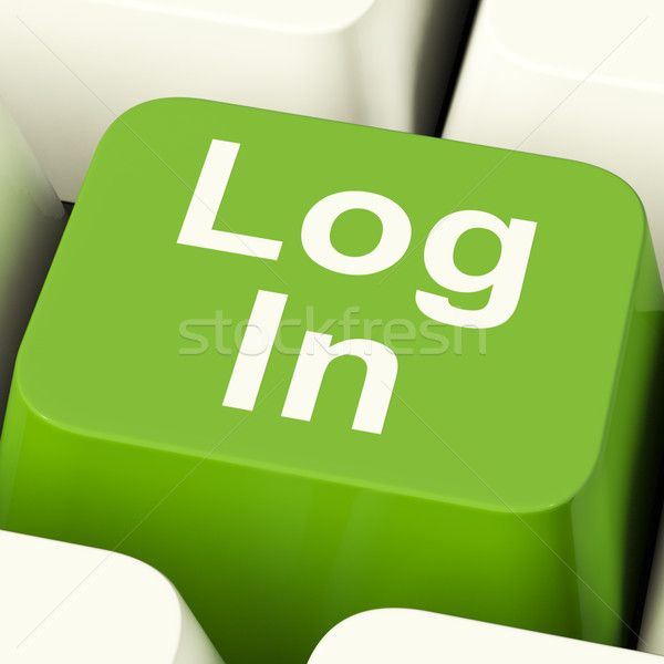 Log In Computer Key Green Showing Access And Entering Stock photo © stuartmiles