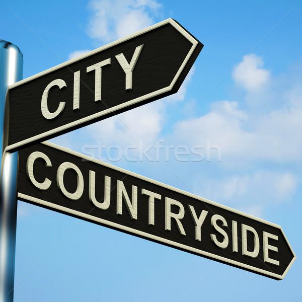 şehir tabelasını Metal yol Stok fotoğraf © stuartmiles