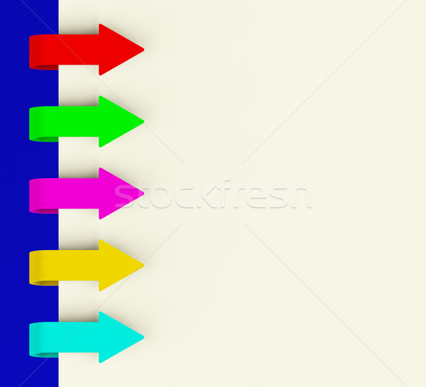 Five Multicolored Arrow Tabs Over Paper For Menu List Or Notes Stock photo © stuartmiles