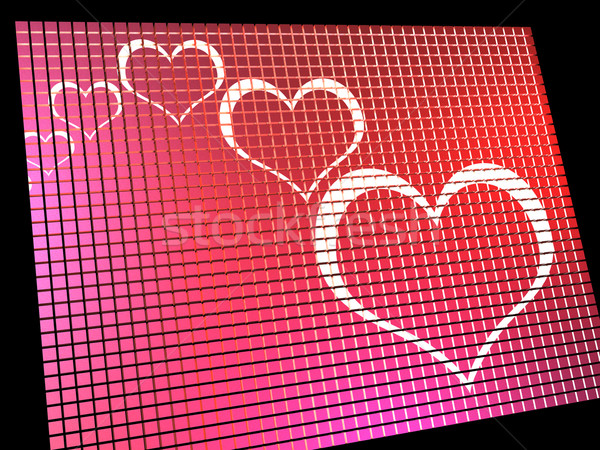 Hearts On Computer Display Showing Love And Online Dating Stock photo © stuartmiles
