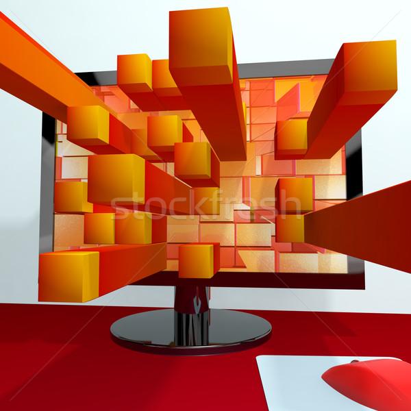üç boyutlu turuncu kareler bilgisayar monitörü 3D grafik Stok fotoğraf © stuartmiles