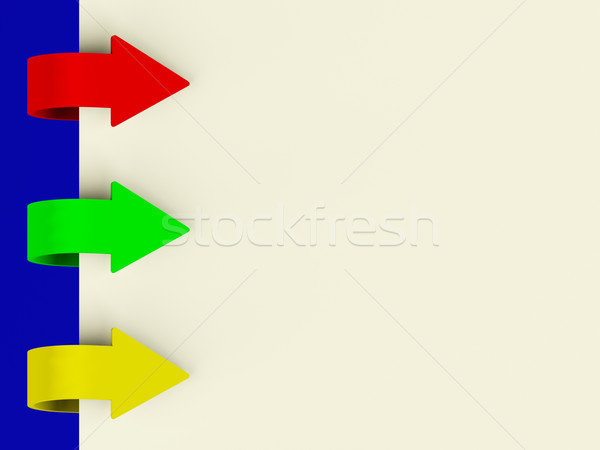 Three Multicolored Arrow Tabs Over Paper For Menu List Or Notes Stock photo © stuartmiles