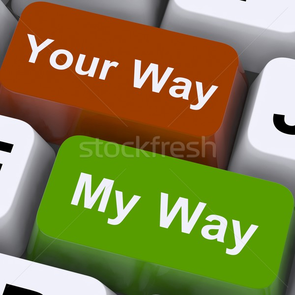 My Or Your Way Keys Show Conflict Or Disagreement Stock photo © stuartmiles