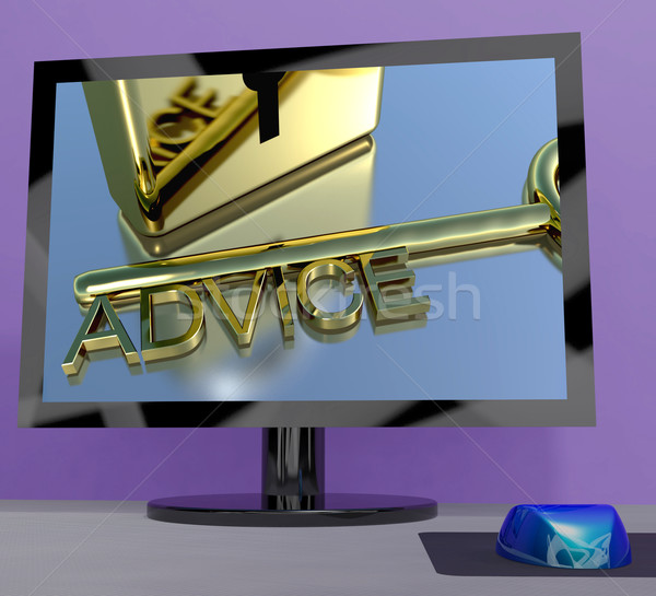 Advice Key On Computer Screen Showing Assistance Stock photo © stuartmiles