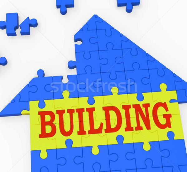 Building House Shows Teamwork Constructing Puzzle Stock photo © stuartmiles