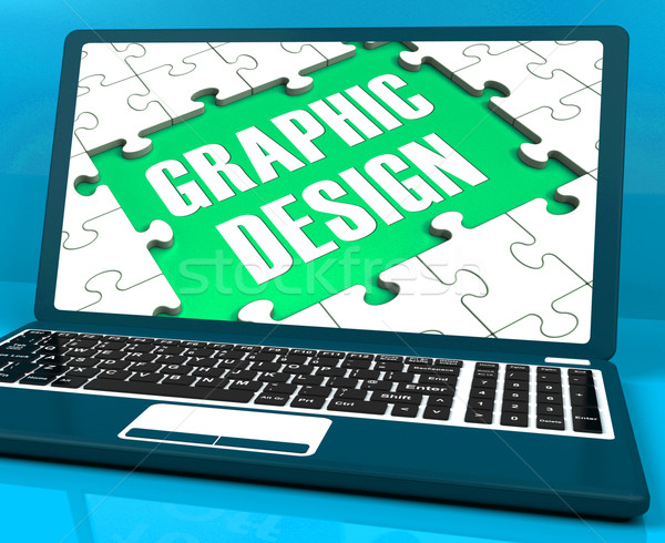 Graphic Design On Laptop Shows Stylized Creations Stock photo © stuartmiles